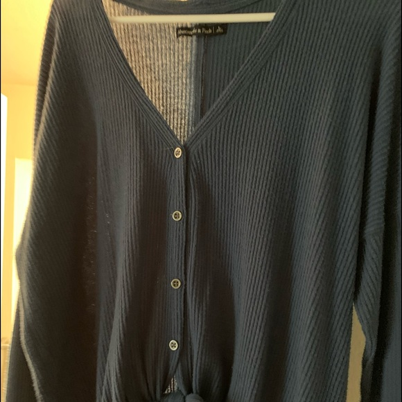 Abercrombie & Fitch front tie waffle top
